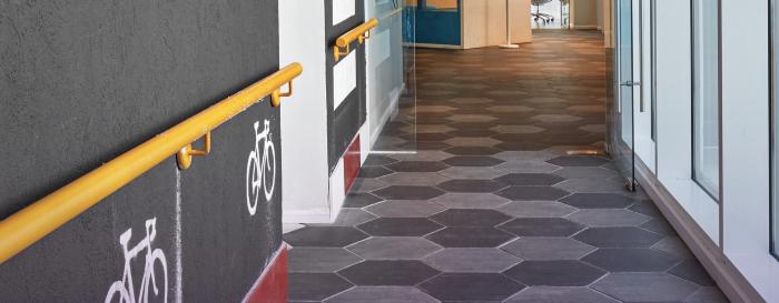 Nexar's HQ has hexagon-shaped floor tiles